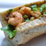 Spicy Shrimp Po'Boy Sandwich with Chipotle Avocado Mayonnaise