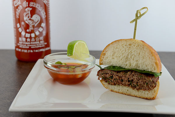 Thai Basil Beef Burgers Spicy Sweet Chili Sauce | Cherry Jasmine