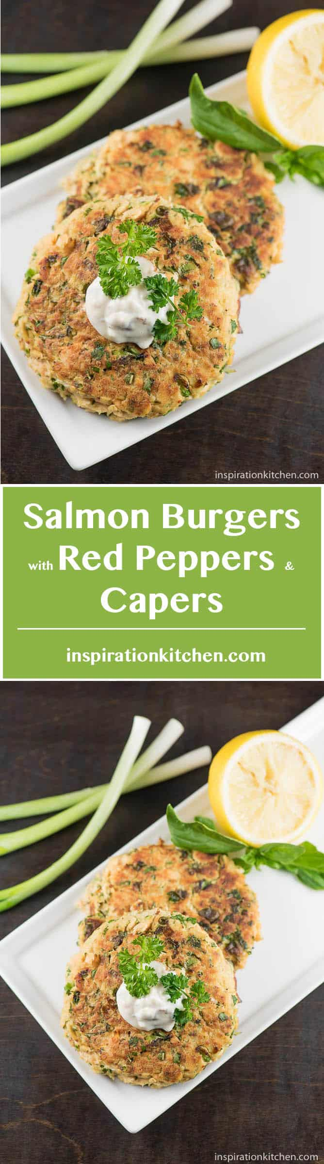 Salmon Burgers with Red Peppers and Capers - inspirationkitchen.com