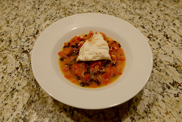 Halibut Tomato Rosemary Broth | Cherry Jasmine