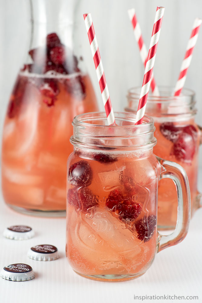 Raspberry Vodka & Beer Cocktail - inspirationkitchen.com