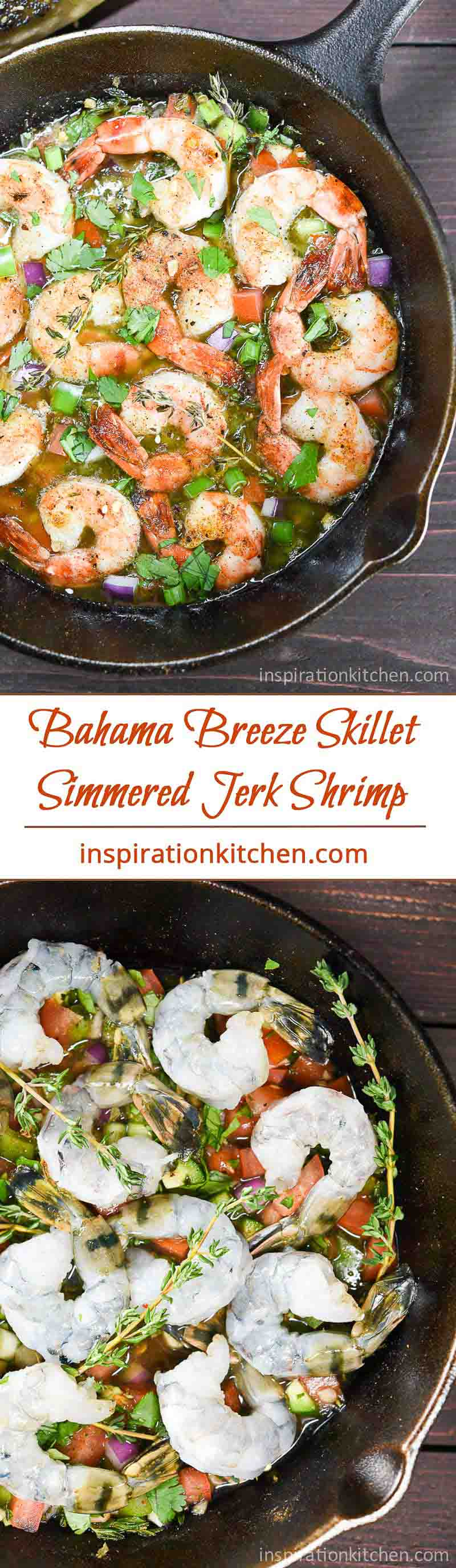 Bahama Breeze Skillet Simmered Jerk Shrimp Collage | Inspiration Kitchen