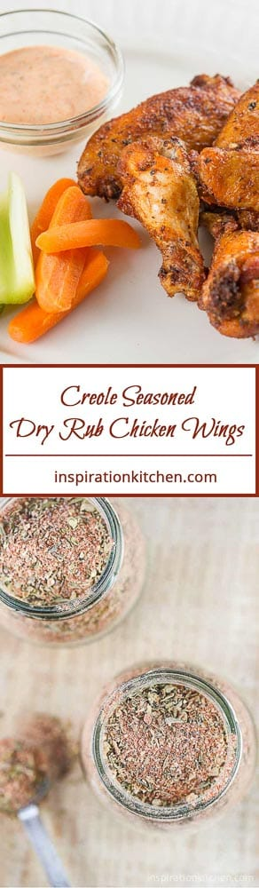 Creole Seasoned Dry Rub Chicken Wings Collage | Inspiration Kitchen