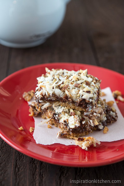 Chocolate Coconut Pecan Magic Cookie Bars - inspirationkitchen.com