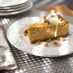 Dulce de Leche Pumpkin Cheesecake with Candied Walnuts