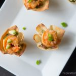 Spicy Tequila Shrimp Salsa in Wonton Cups
