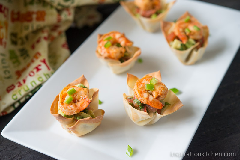 Spicy Tequila Shrimp Salsa in Wonton Cups - Inspiration Kitchen