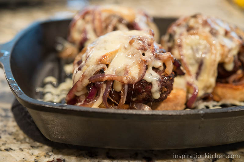 French Onion Soup Open-Faced Burger - inspirationkitchen.com