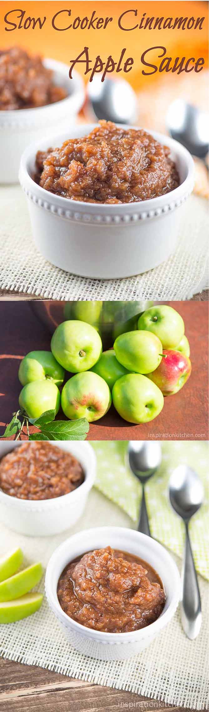 Slow Cooker Cinnamon Apple Sauce Collage | Inspiration Kitchen