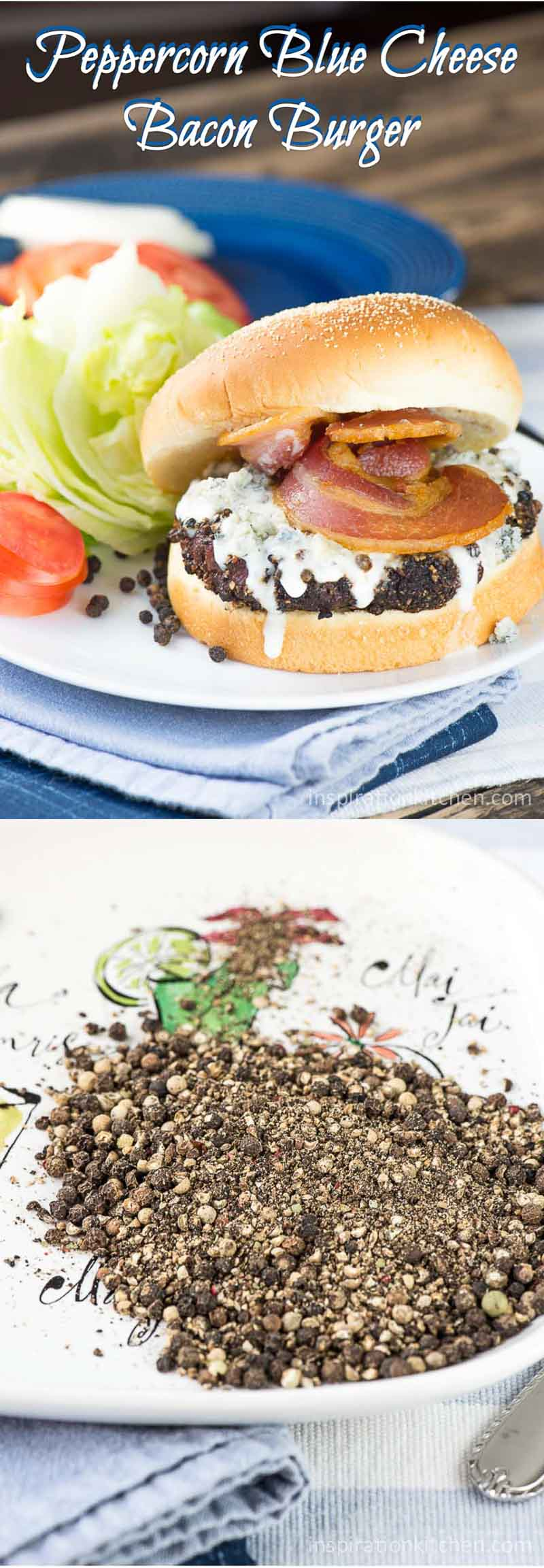 Peppercorn Blue Cheese Bacon Burger Collage | Inspiration Kitchen