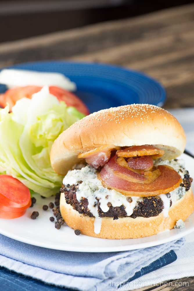 Peppercorn Blue Cheese Burger | Inspiration Kitchen