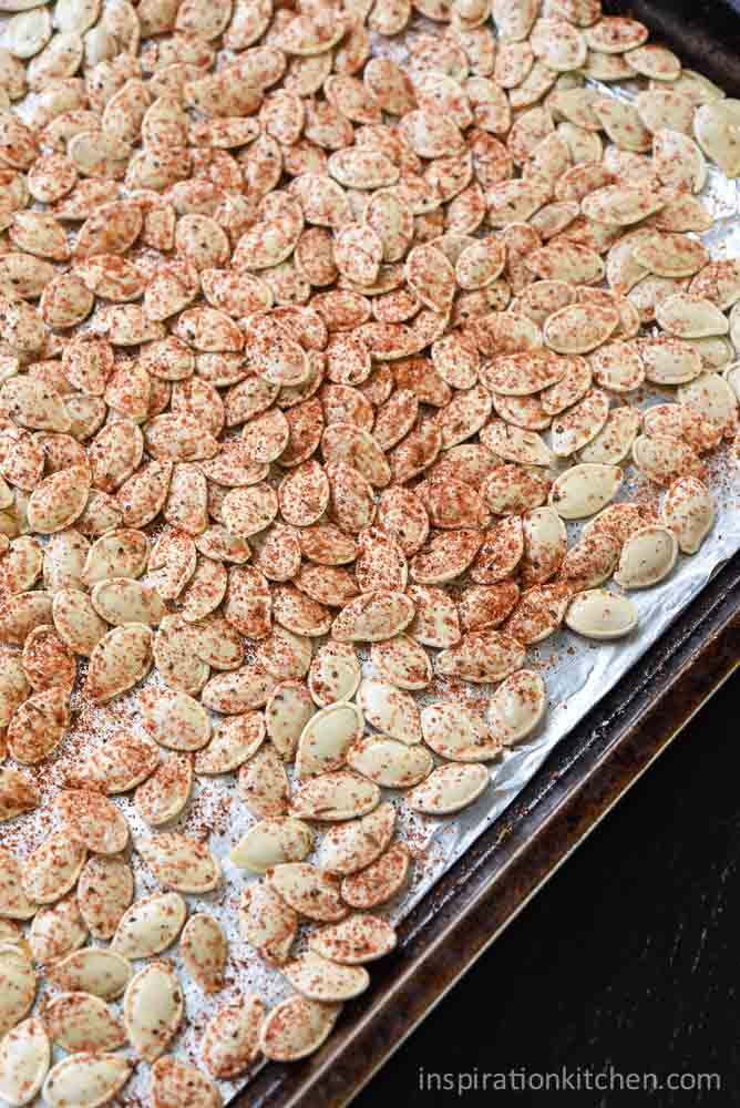 Roasted Pumpkin Seeds - 3 Flavors - Bacon, Worcestershire & Garlic and Cajun | Inspiration Kitchen