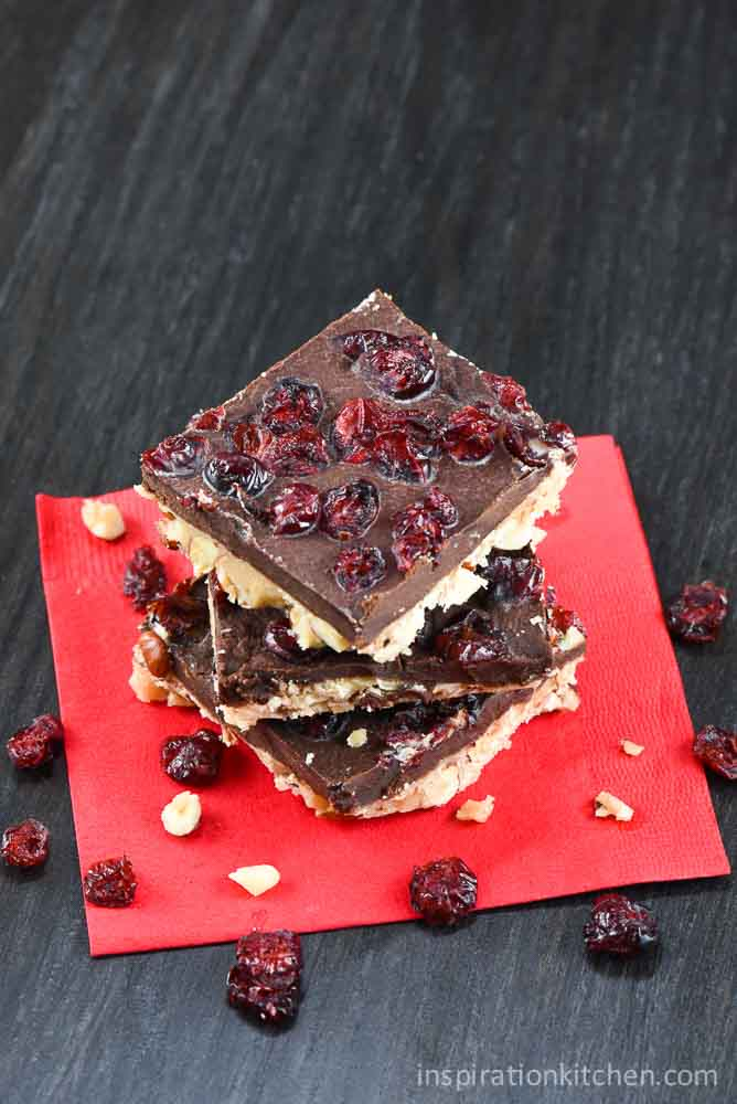 Dark Chocolate Hazelnut Cranberry Buttercrunch | Inspiration Kitchen