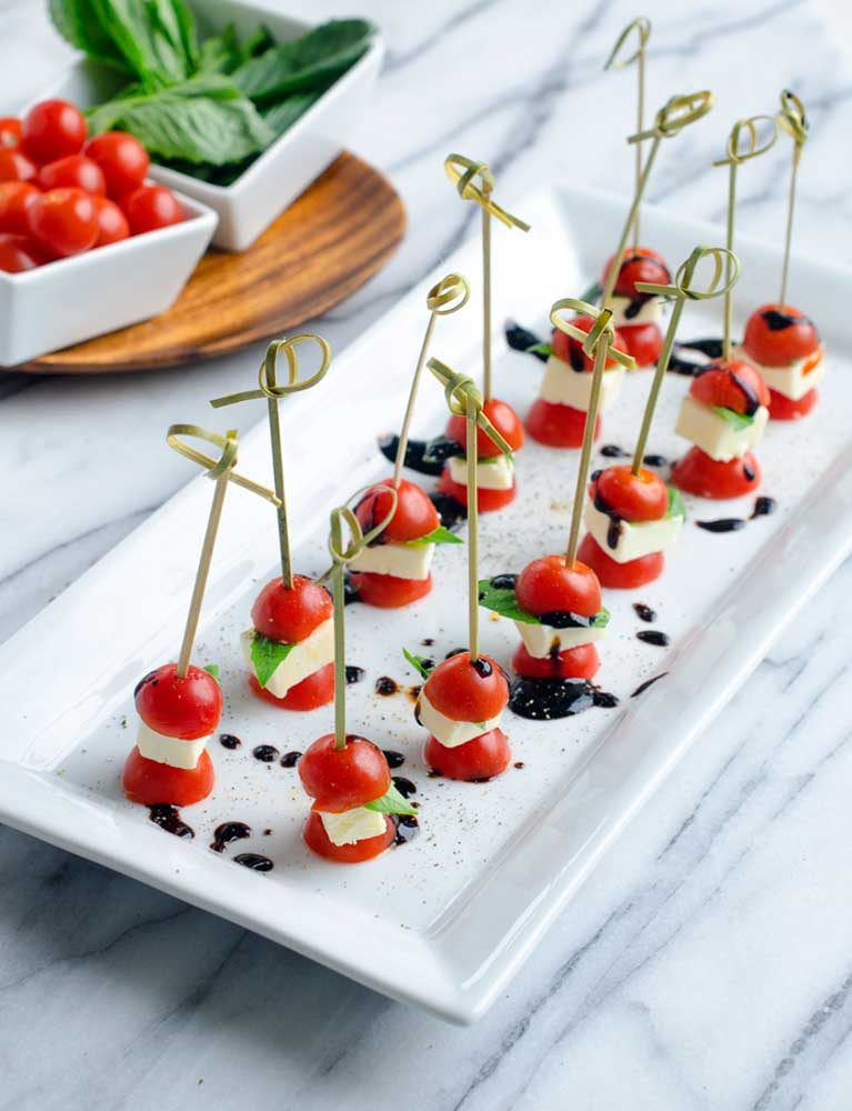 Tomato Basil Appetizer Skewers   Chic And Sugar