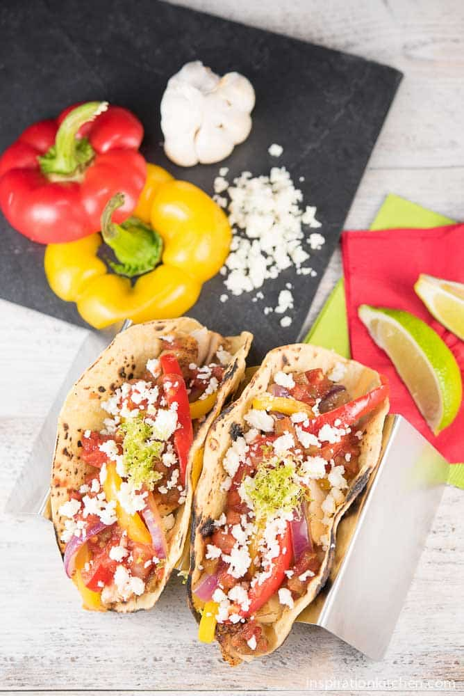 Chicken Fajita Tacos with Cotija Cheese | Inspiration Kitchen