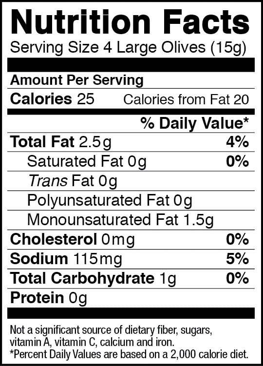 California Ripe Olives Nutrition Label