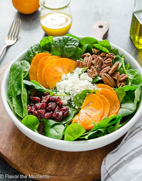 Persimmon & Spinach Salad - Flavor The Moments