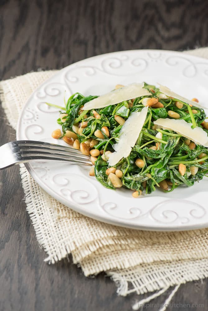 Wilted Arugula with Balsamic Vinegar - inspirationkitchen.com