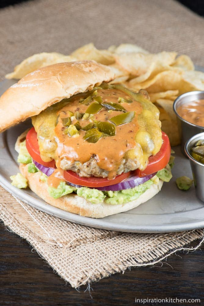 Jalapeno Chipotle Cheddar Chicken Burgers - Inspiration Kitchen