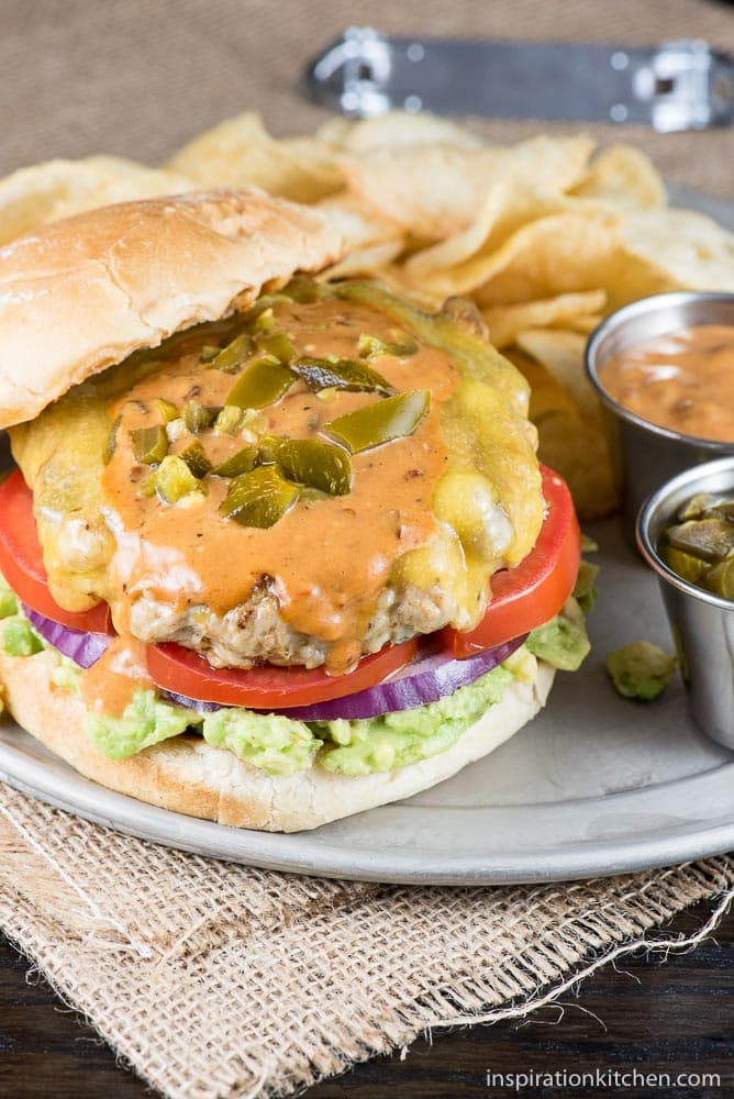 Jalapeno Chipotle Cheddar Chicken Burgers - inspirationkitchen.com