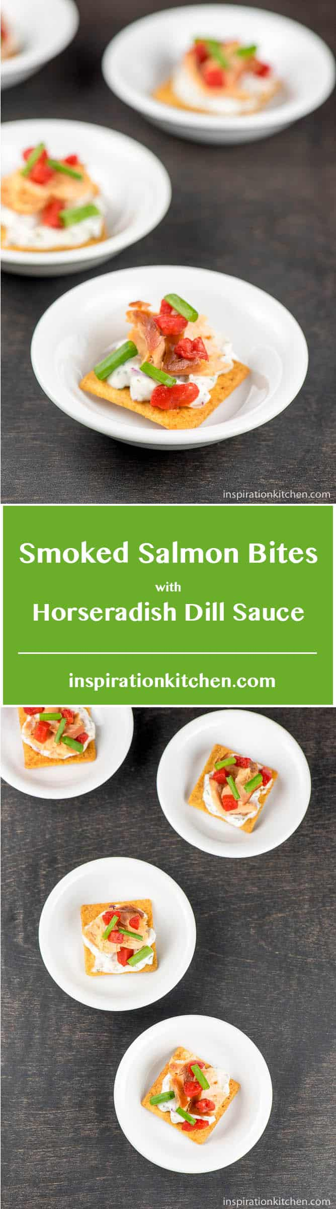 Smoked Salmon Bites with Horseradish Dill Sauce - inspirationkitchen.com