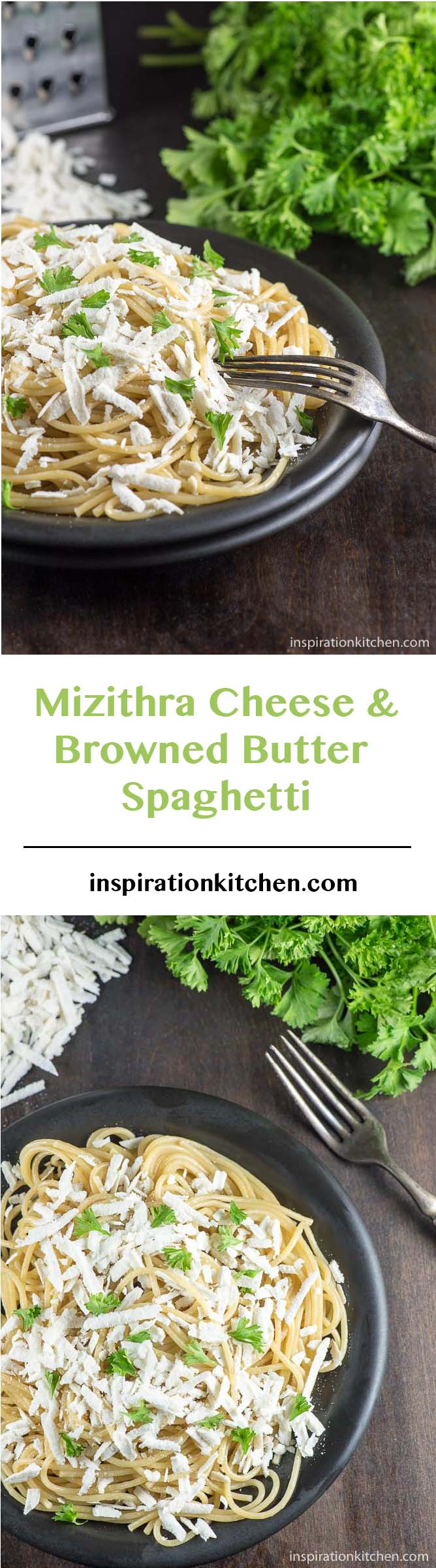 Mizithra Cheese and Browned Butter Spaghetti - inspirationkitchen.com