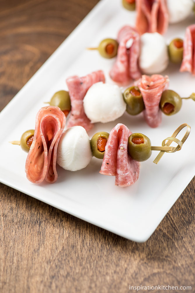 Mozzarella Salami Olive Appetizer Sticks - inspirationkitchen.com